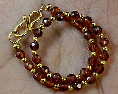 "N-1655 Hessonite Natural Gemstone Round Faceted Beads 19ct 4mm 7"" Bracelet $"