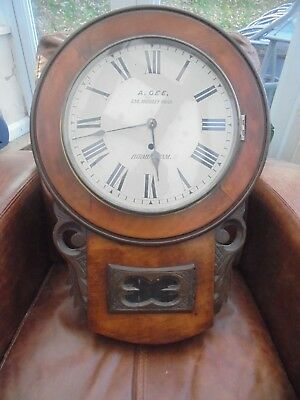 Large Antique Victorian Mahogany Cased Drop Dial Clock.Quality Clock, No Reserve