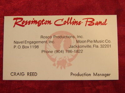 Rossington Collins Band * Business Card * Craig Reed * Signed * Lynyrd Skynyrd