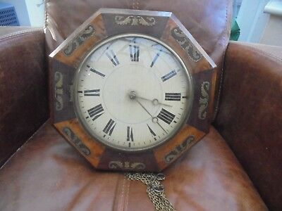 Antique Continental Brass Inlaid Rosewood Cased Wall Clock. (Possibly French)