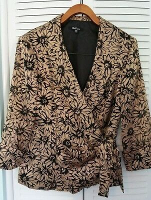 Onyx Night Gold & Black Formal Evening Ladies Top Xl Excellent Condition