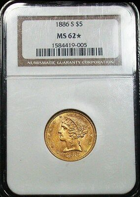 1886 s NGC MS62* Star Semi Proof-Like Liberty Head $5 Gold Piece (dp48)