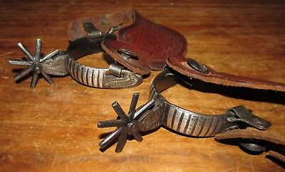 Vintage Hand Made & Engraved Steel Spurs With Original Tooled Leather Straps