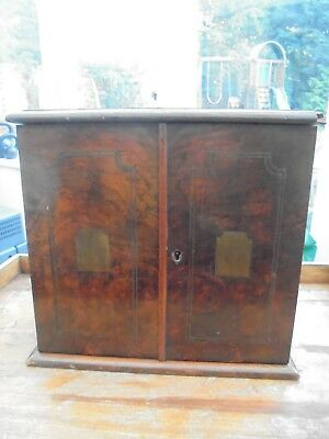 Antique Victorian Rosewood Humidor With Brass Inlaid and Fitted Drawers.