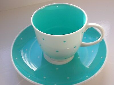 Susie Cooper cup and saucer with blue & white polka dot design unused