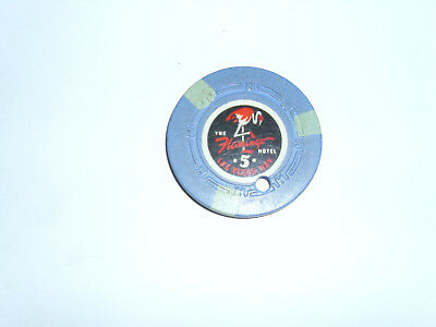 vintage las vegas flamingo hotel chip 5 dollar chip with cancelled hole 1950s