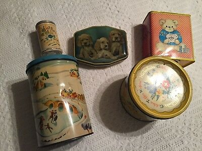 Vintage Antique Toffee Candy Tin Pail Bucket Toy Lot Salt Pepper Coin Bank Dog