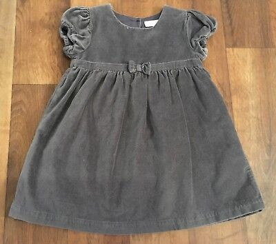 The Little White Company Baby Girls Grey Velvet Dress 12-18 Months