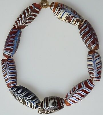 9 Mixed Venetian Feather Beads - African Trade Beads