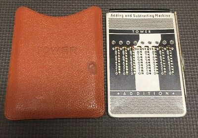 Vintage Tower Adding and Subtracting Machine with Leather Case