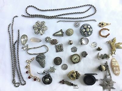 Antique /Vintage jewellery,coin, watch, bogwood,chains ,mixed lot Spares/repairs