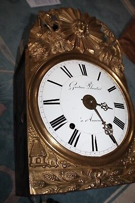 Morbier France Repousse Wall Clock Movement,Bell,Dial,Side Doors,Back,Overhauled