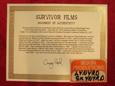 1975 Backstage Pass Was On Lynyrd Skynyrd Crash ( Belkin Productions )