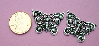 Vintage Design Antique Silver Plated Brass Swirling Butterfly - 2 Pcs