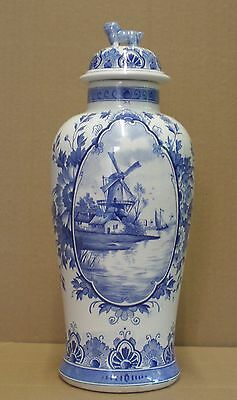 Large Impressive Victorian Delft Covered Vase - Chinese Influence