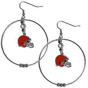 Cleveland Browns NFL Officially Licensed Jumbo Hoop Earrings Hypoallergenic