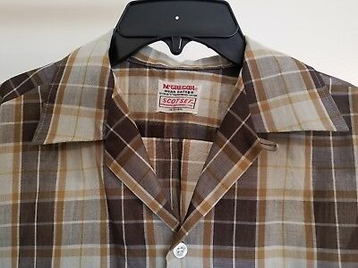 Vtg 50's 60's McGregor ScotSet Loop Collar Rockabilly s/s shirt S Small plaid