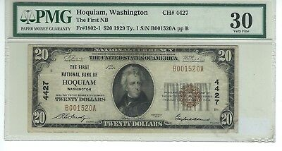 "1929  $20 Charter #4427  ""the First National Bank Of Hoquiam Washington"""
