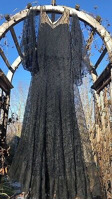 Antique 1930s Silk Floral Lace Dress Jacket Art Deco Bias Cut Gown Sheer Vintage