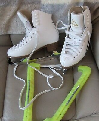 Girls / Ladies Jackson Mystique Ice Skates Size 4 With Guards Vgc