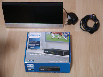 Philips DTR 3202 Digitaler FULL HD DVB-T2 Receiver HDMI Scart Lan mit HD Antenne
