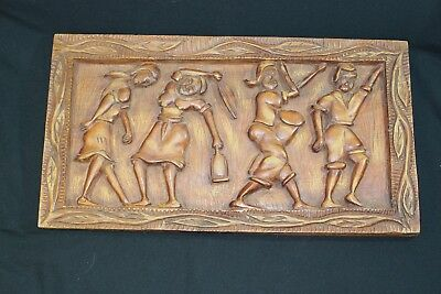 """Vintage Pacific Island PALAU STORY BOARD Bas-Relief Hand Carved Wood - 24"""" x 13"""""""
