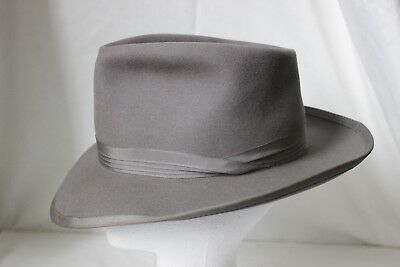 """STUNNING Vintage 50's PORTIS """"NEW SLANT"""", Gray, 7 fits to 7 1/8th"""