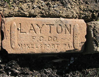 OLD VTG antique Brick reclaimed Stamped LAYTON FC CO McKEESPORT PA  VTG6792