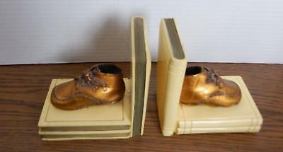 VTG 75 Year Old Copper Plated Baby Shoes Ceramic Nursery Bookends
