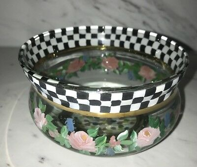 """MacKenzie Childs Rose Bowl Hand Painted Art VINTAGE Stamped MINT 4"""" Round Gold"""