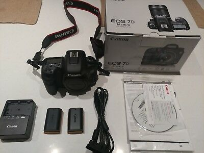 Canon EOS 7D Mark ii SLR LOW SHUTTER COUNT (Body Only) 2 Batteries, Remote, Bag
