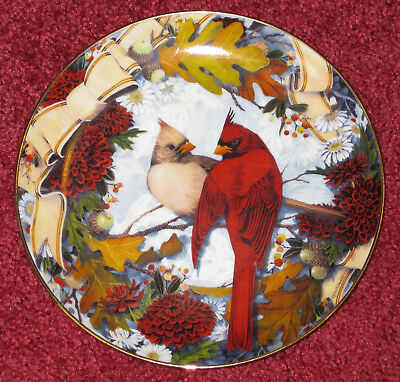 Franklin Mint Porcelain Plate Cardinals in the Golden Fall Limited Edition