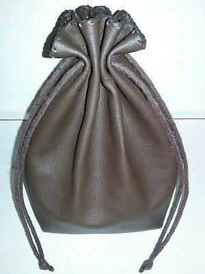 New Handmade XLarge Dark Brown Genuine Leather Drawstring, Dice Bag, Coin Pouch