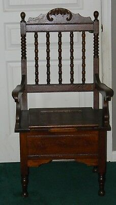 Antique Victorian Solid Oak Large Gothic Chamber Pot Throne Potty Toilet Chair