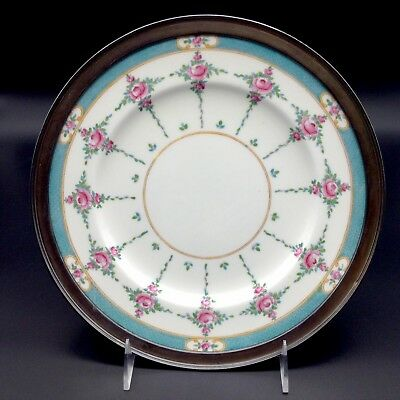 Minton Persian Rose Dinner Plate Sterling Rim Display Cabinet Plate Rose Flowers