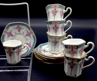 6 Minton Persian Rose Hexagonal Demitasse Cups & Saucers Teacups Lot