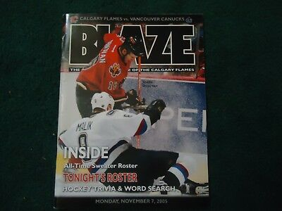Calgary Flames v Vancouver Canucks Hockey Program November 7, 2005 NHL
