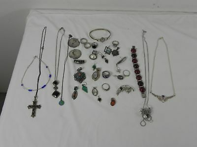 192.0 Gram Lot of Scrap or Wearable Sterling Silver with Stones