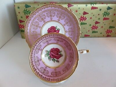 Vintage Paragon Deep Pink With Red Rose Cup And Saucer With Gold Trim