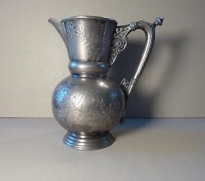 Silverplate Pitcher Victorian ~ Meriden B Company ~ Etched Bird & Floral Motif