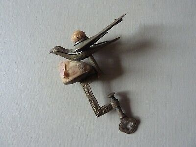 Antique Brass Sewing Bird Clamp Pincushion ~ Marked