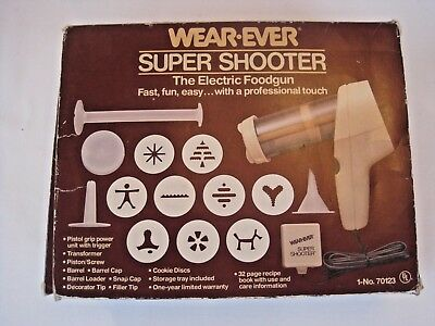 WearEver SUPER SHOOTER 70123 Vintage Electric Cookie Press COMPLETE in Box EUC!