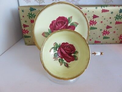 Vintage Paragon With Huge Deep Red Rose Cup And Saucer With Gold Trim Signed