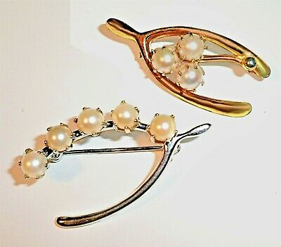 Vintage WISHBONE Brooch Pin PRECIOUS PEARL Silver Plated WWII Thanksgiving Gift