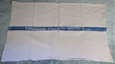 CANADIAN PACIFIC HOTELS White Towel Blue Stripe 1958 Hard to Find!