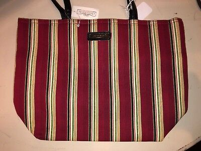 Longaberger Double Handled Fabric Tote Bag ~ Holiday Stripe