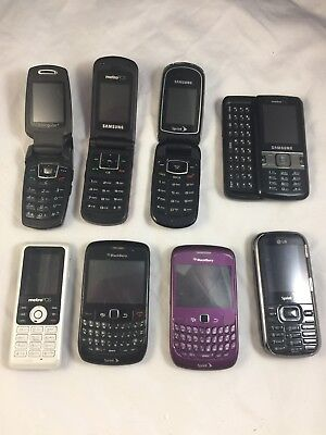 Lot of 8 Assorted Cell Phones Smartphones Metro PCS AT&T Sprint Blackberry