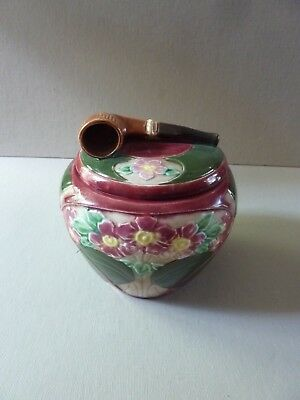 Antique Majolica Pipe Tobacco Jar Humidor with Flowers & Pipe