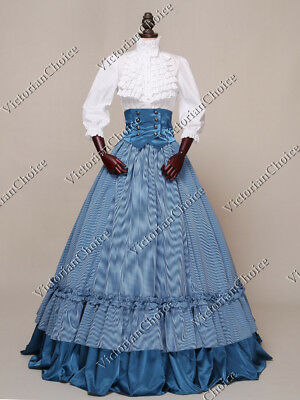 Victorian Dickens Christmas Carol Plaid Dress Reenactment Theater Costume K001 M