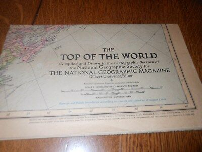 1949 The Top Of The World Map by National Geographic Society
